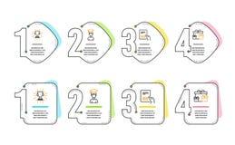 Empaquete el sistema de la factura, de los iconos del estudiante y del trofeo Las cajas de la sorpresa firman Vector libre illustration