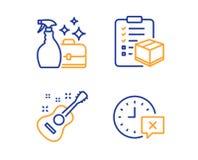 Empaquete la lista de control, el espray de la despedregadora y sistema de los iconos de la guitarra Muestra del tiempo Vector stock de ilustración