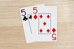 Emparéjese de los fives 5 - casino que juega tarjetas del póker fotografía de archivo