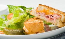 Emparedado asado a la parilla del jamón y del queso imagenes de archivo