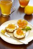 Emparedado con el atasco del queso y de la fruta cítrica Imagenes de archivo