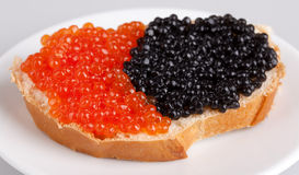 Emparedado con el caviar rojo y negro fotografía de archivo