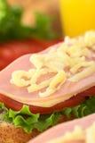 Emparedado con el jamón, el queso, la lechuga y el tomate Imagen de archivo