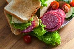 Emparedado con el salami y el queso fotos de archivo