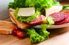 Emparedado con el salami y el queso imagenes de archivo