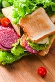 Emparedado con el salami y el queso imágenes de archivo libres de regalías