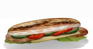 Emparedado con el salami y el queso Foto de archivo
