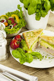 Emparedado de club sabroso fresco con queso y el jamón imagen de archivo