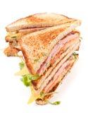 Emparedado de la carne, de la lechuga y del queso en el pan tostado Foto de archivo libre de regalías