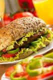 Emparedado de la hamburguesa imagen de archivo
