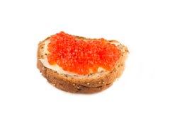 Emparedado del caviar Fotos de archivo
