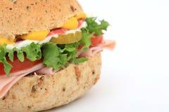 Emparedado del pan en un bollo de la hamburguesa Foto de archivo libre de regalías