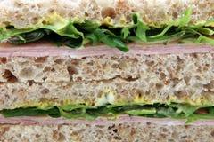 Emparedado del pan marrón mostaza y del huevo y del jamón sanos de la mayonesa Imagen de archivo libre de regalías