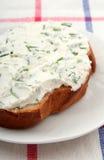 Emparedado del queso poner crema Imagen de archivo