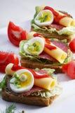 Emparedado del salami en el pan del trigo integral imagen de archivo