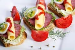 Emparedado del salami en el pan del trigo integral foto de archivo libre de regalías