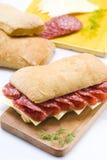 Emparedado del salami y del queso Imagen de archivo