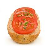 Emparedado del tomate con las cebolletas #1 Fotografía de archivo