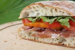 Emparedado del tomate de Prosciutto Fotografía de archivo libre de regalías