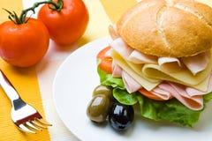 Emparedado delicioso del jamón, del queso y de la ensalada foto de archivo