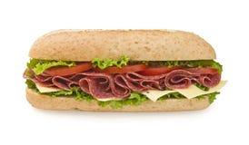 Emparedado submarino grande del salami y del queso Imagen de archivo