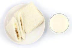 Emparedado y leche Fotografía de archivo libre de regalías