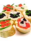 Emparedados con el caviar Imágenes de archivo libres de regalías