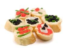 Emparedados con el caviar Fotos de archivo