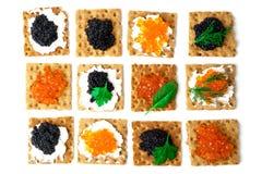 Emparedados con el caviar Imagenes de archivo
