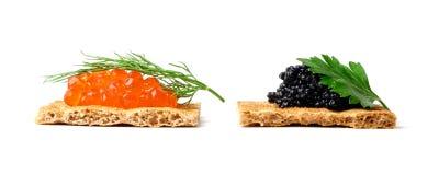Emparedados con el caviar Imagen de archivo libre de regalías