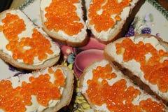 Emparedados con el caviar Fotos de archivo libres de regalías