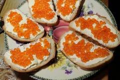 Emparedados con el caviar Fotografía de archivo