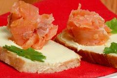 Emparedados con los salmones Fotografía de archivo libre de regalías