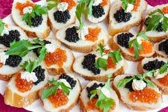 Emparedados del caviar Foto de archivo libre de regalías