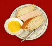Emparedados del pan francés de Turquía y del queso Fotos de archivo libres de regalías