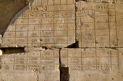 Emparede la relevación del calendario egipcio antiguo, Karnak, Imagen de archivo