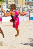 Emparejamiento de la diecinueveavo liga del balonmano de la playa, Cádiz Imagen de archivo libre de regalías