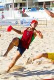 Emparejamiento de la diecinueveavo liga del balonmano de la playa, Cádiz Foto de archivo libre de regalías