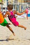 Emparejamiento de la diecinueveavo liga del balonmano de la playa, Cádiz Fotografía de archivo libre de regalías