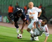 Emparejamiento de la UEFA Champions League de Debrecen - de Lyon Fotos de archivo