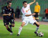 Emparejamiento de la UEFA Champions League de Debrecen - de Lyon Fotografía de archivo