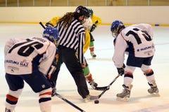 Emparejamiento del hockey sobre hielo de la juventud de Kaposvar - de Vasas Fotos de archivo libres de regalías
