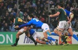 Emparejamiento Italia del rugbi contra Suráfrica - Tito Tibaldi Foto de archivo libre de regalías