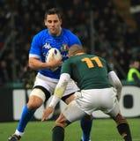 Emparejamiento Italia del rugbi contra Suráfrica - la planta del pie de Josh Fotografía de archivo