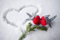 Emparelhe de dois pássaros na neve foto de stock