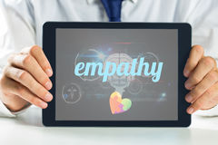 Empathy against medical biology interface in black. The word empathy and autism awareness heart against medical biology interface in black Stock Photos
