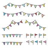 Empavesado colorido del garabato del dibujo del vector, sistema del triángulo de la bandera stock de ilustración