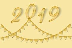 Empavesado de oro para la tarjeta 2019 de felicitación de la Feliz Año Nuevo Imágenes de archivo libres de regalías