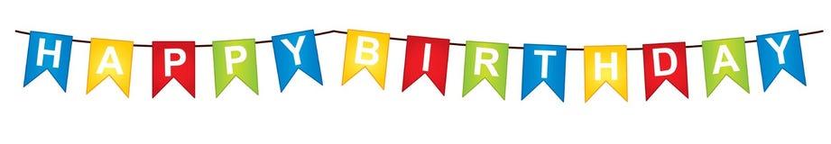 Empavesado del vector con el texto del feliz cumpleaños stock de ilustración