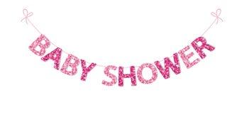 Empavesado festivo lindo del vintage para la fiesta de bienvenida al bebé con las letras hermosas del brillo stock de ilustración